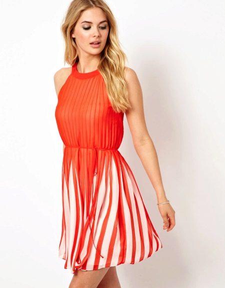 Плиссированное повседневное платье
