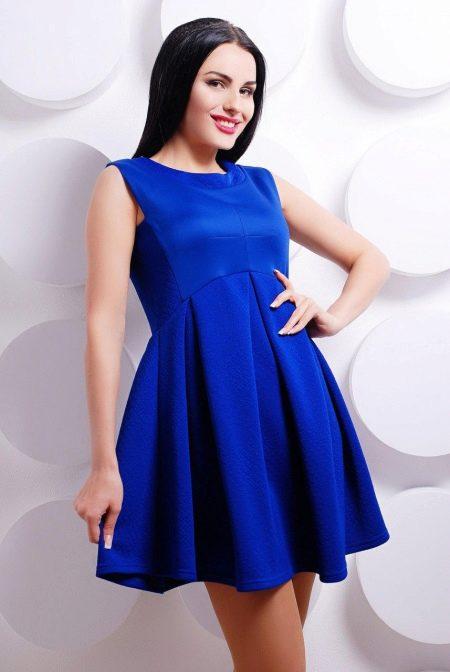 Платье синее расклешенное с завышенной талией