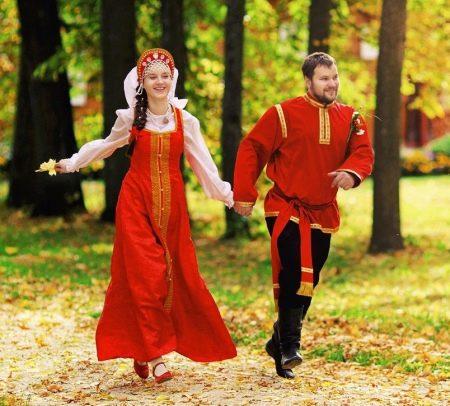 Свадебный красный русский сарафан