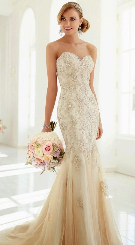 Платье русалка свадебное цвета айвори