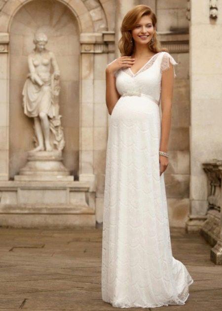 Свадебное платье с завышенной талией для беременных