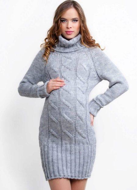 Вязаное платье свитер для беременных