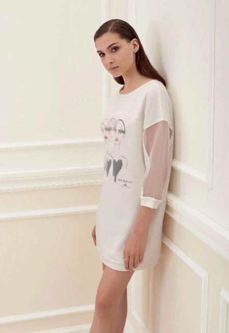Платье трикотажное с прозрачным рукавом