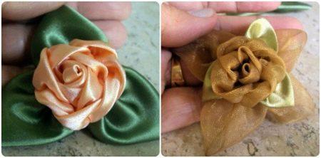 Примеры цветов из атласной ленты