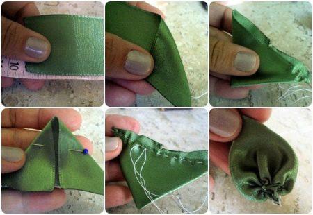 Создание листка из атласной ленты