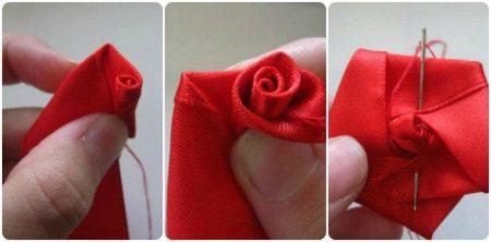 2 этап скручивания розы из ленты