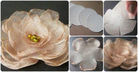 Инструкция создания цветка из органзы