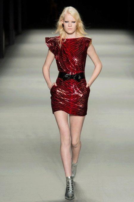 Кожаное платье бордовое