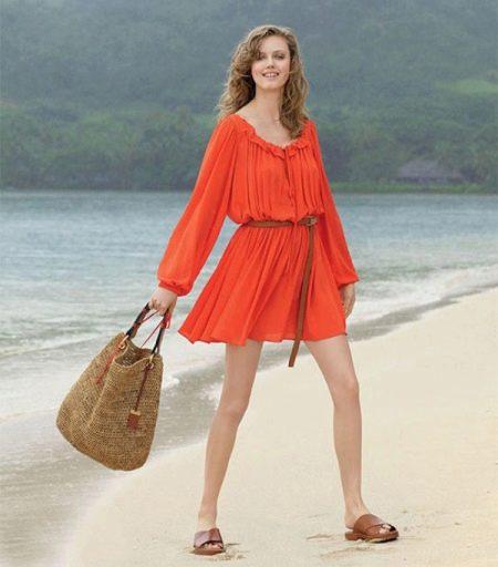 Летнее пляжное оранжевое платье