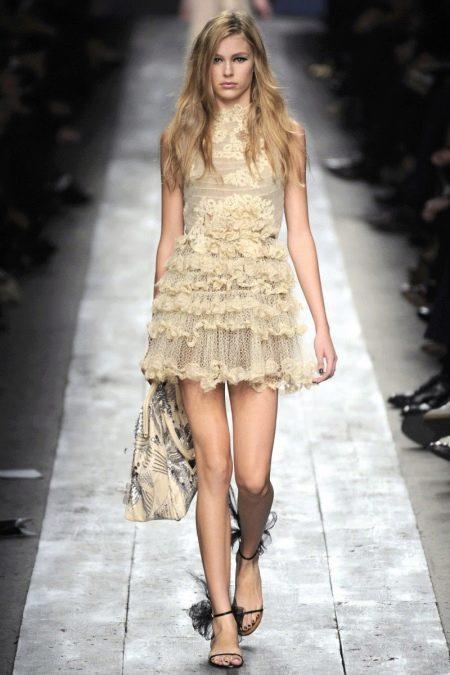 Комбинированное вязаное платье
