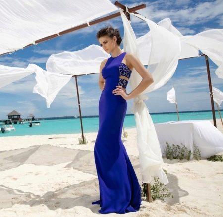 Летнее платье синее в пол