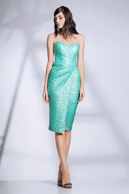 Платье без бретелей с драпировкой бирюзовое
