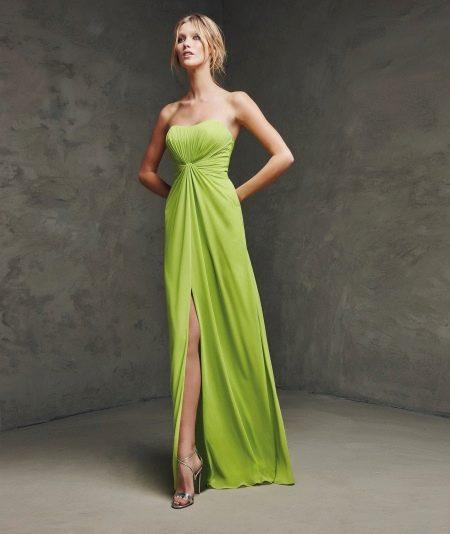 Платье без бретелей с завышенной талией