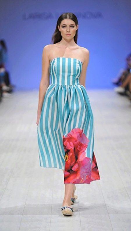 Платье без бретелей миди морское