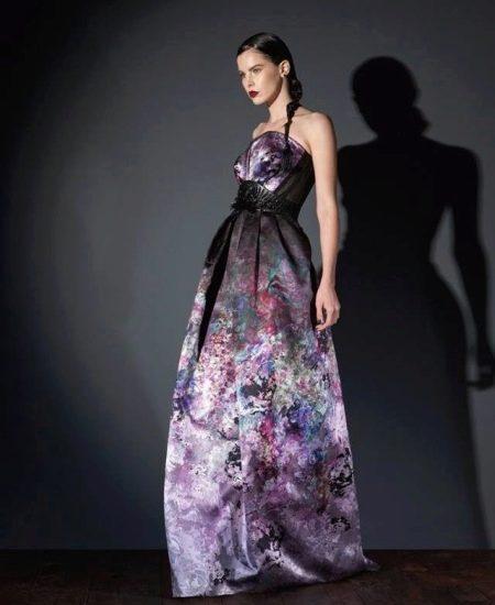 Платье без бретелей вечернее с принтом