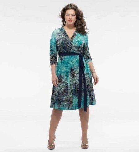 Платье-халат с принтом для полных женщин