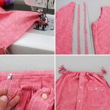 соединение деталей платья из рубашки