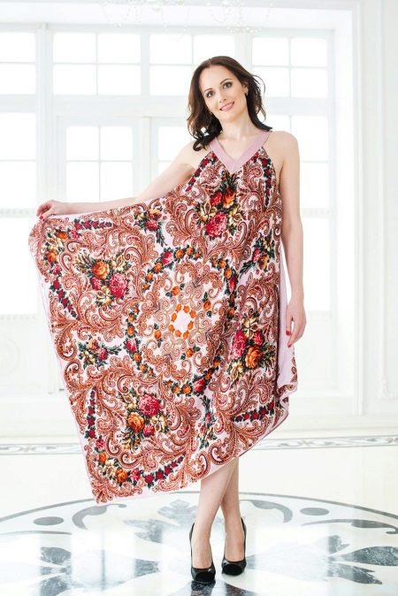 Платье из платков на бретелях