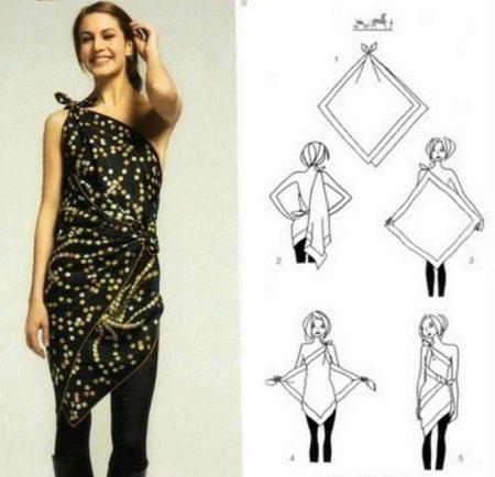 Платье из платка асимметричное