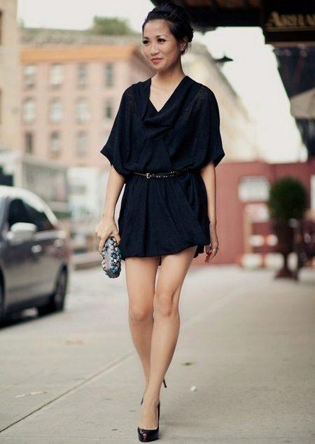 Платье летучая мышь в сочетание с ремнем