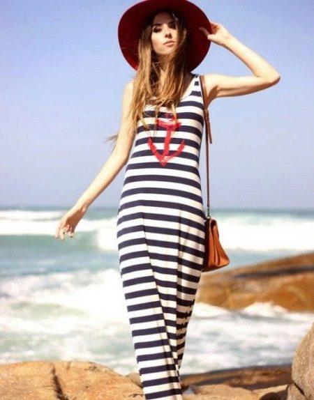 Длинное полосатое платье-майка в морском стиле