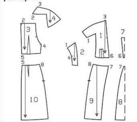 Выкройка трикотажного платья с цельнокроеным рукавом