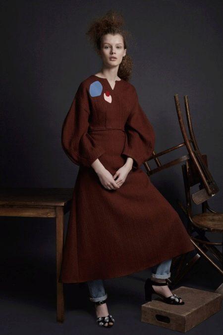 Шерстяное платье рукавом три четверти