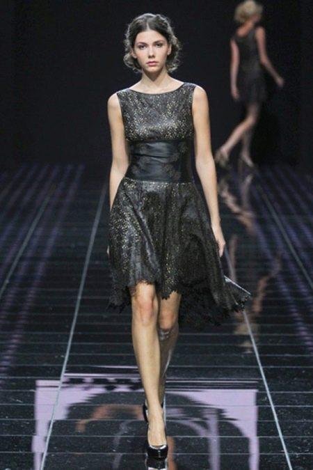 Платье из экокожи с перфорацией