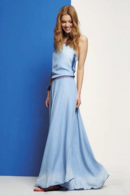 Платье из крепдешина голубое