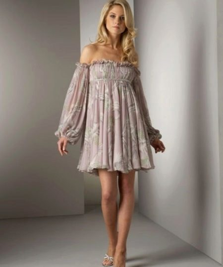 Платье в стиле ампир короткое с рукавами