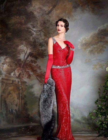 Платье  в стиле ретро красное