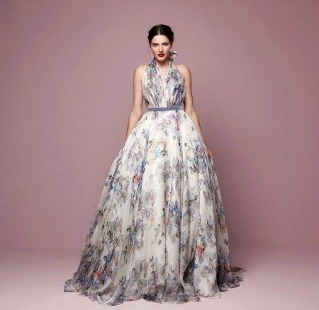 Приталенное  платье  пышное в пол