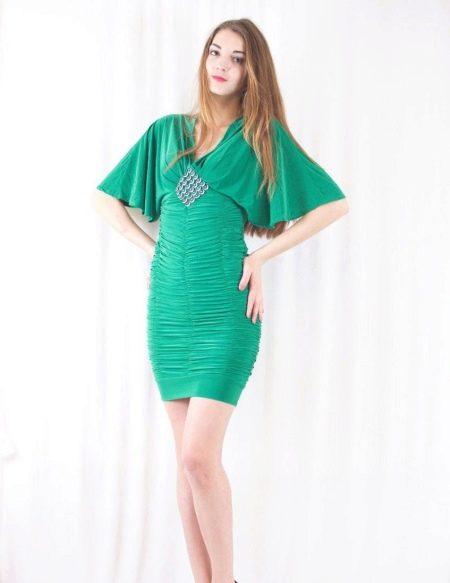 Платье с коротким рукавом летучая мышь коктельное
