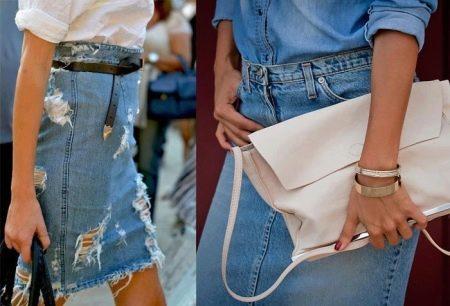 варианты джинсовой юбки-карандаш