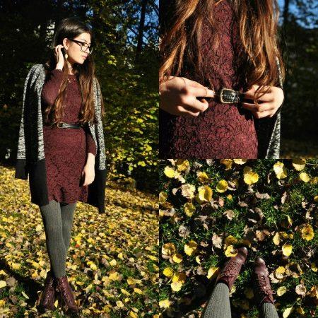 Серые колготы к коричневому платью