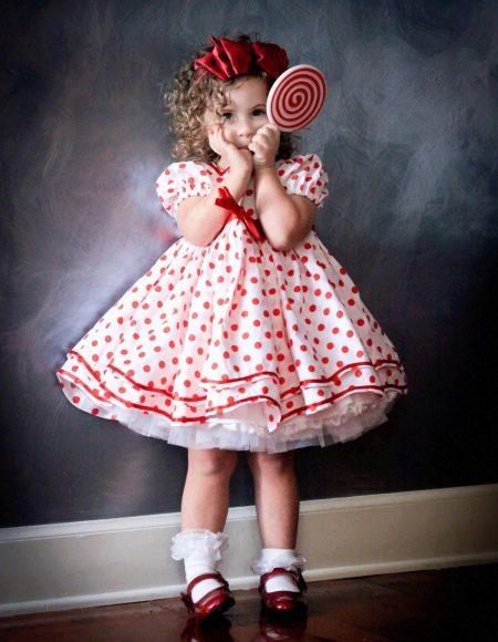 Платье А-силуэта короткое для девочки с завышенной талией