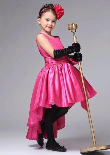 Платье в ретро стиле короткое спереди длинное сзади для девочки