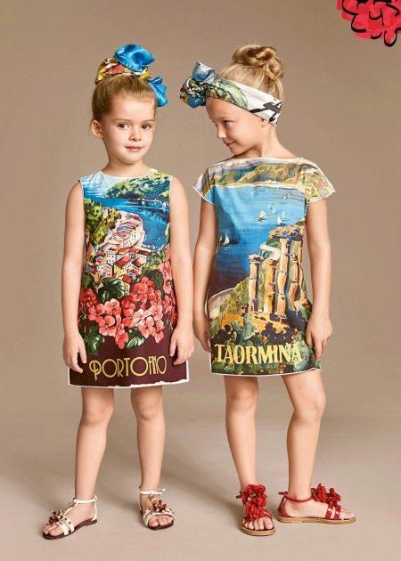 Летнее платье для девочки с принтом