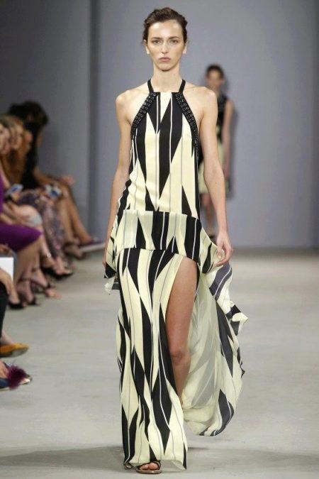 Модное шелковое длинное платье сезона весна-лето 2016 года