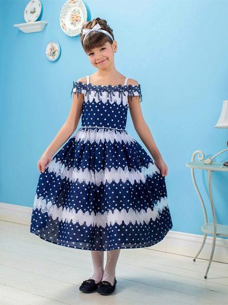 Нарядное платье для девочки в горох