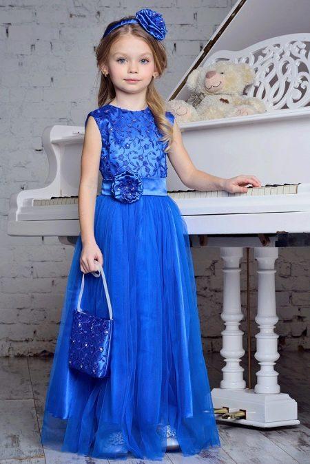 Нарядное платье в пол синее для девочки