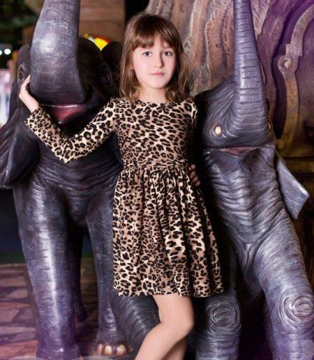 Нарядное платье для девочки с леопардовым принтом