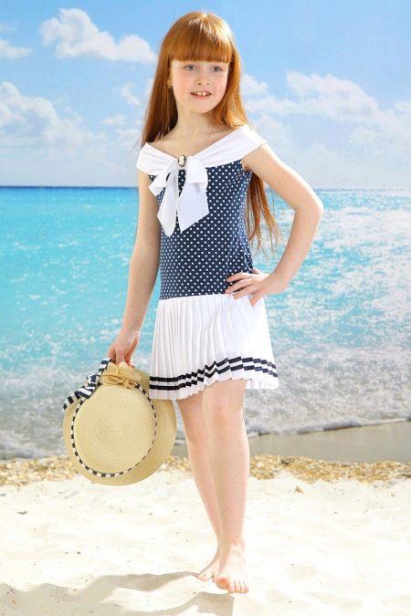 Нарядное платье в морском стиле для девочки