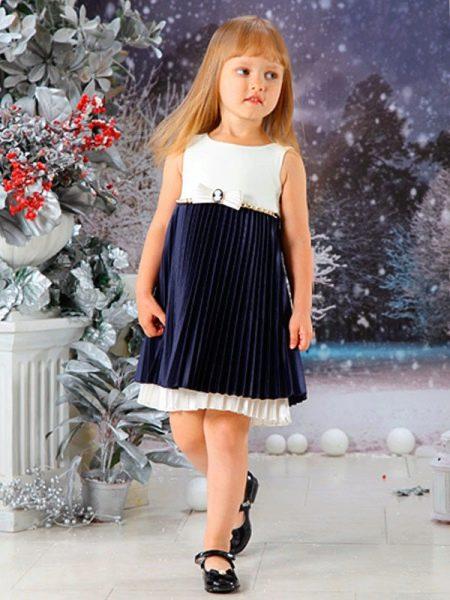 Нарядное платье для полной девочки черно-белое