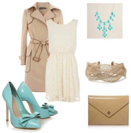 Яркие туфли к белому кружевному платью