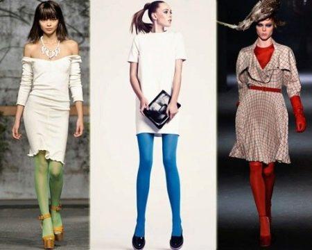 Яркие колготы к белому платью