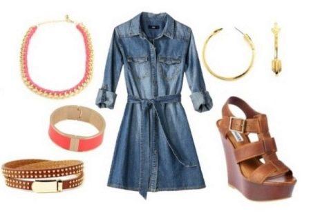 Плетеные сандали к  джинсовому платью