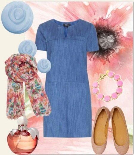 Платок в цветочек к  джинсовому платью