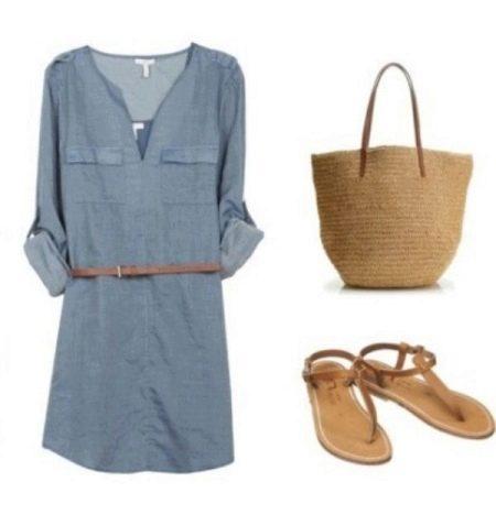 Плетенная сумка к летнему платью-рубашке