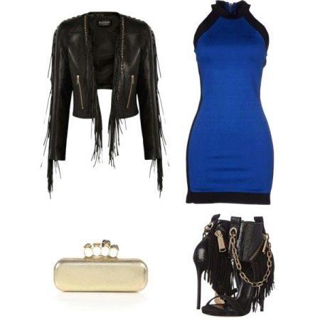 Синее платье с курткой-косухой